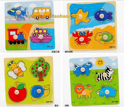 4 Shapes Wooden Adjustable Colorful Puzzle Toy Baby Educational Brick Toy 2016