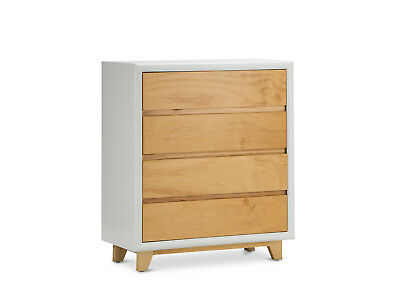Scandinavian Retro Inspired Solid Natural Timber Pine 4 Drawer Tallboy Chest
