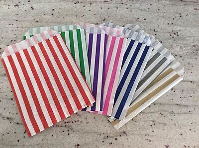 """Paper Candy Stripe Gift Sweet Favour Loot Party Bags 5 x 7"""" Pick n Mix"""