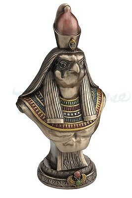 Egyptian God Horus Bust On Plinth Statue Sculpture Figurine - WE SHIP WORLDWIDE