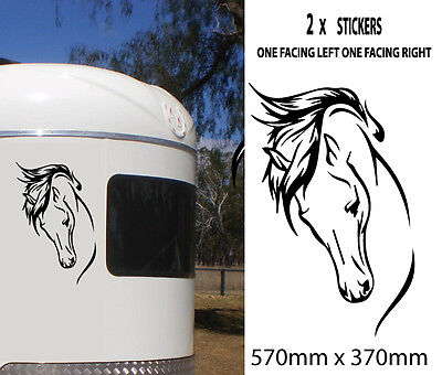 Qty 2 Large Horse  Decal Ute 4Wd Horse Float Truck Sticker H001