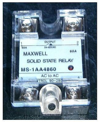 """SOLID STATE RELAY """"MAXWELL"""" MS-AA480 60//  90-280VACinput  // 24-480VAC 60A"""