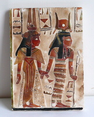 Egypt Hand Carved & Painted Relief Plaque Sculpture Ancient Stile Replica