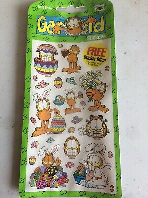 Garfield easter birthday party Stickers 4 sheets 2002 Mello smello H89