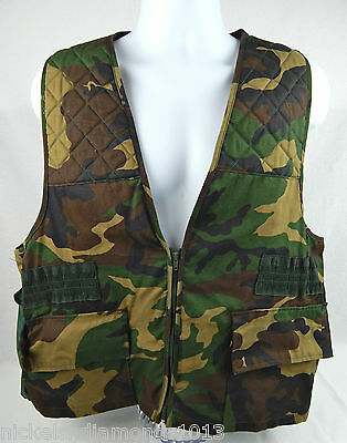 eb93b17ab52dd Sports Afield Hunting Game Vest Mens LARGE Woodland Camo Shell Loops Game  Pouch