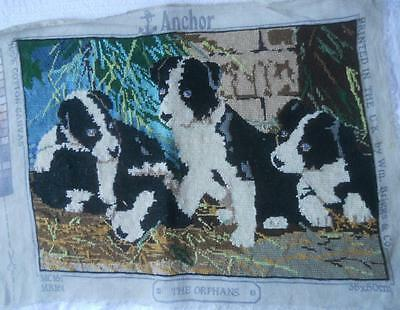 Vintage Completed Tapestry The Orphans 4 Black White Puppies Craft Frame Upcycle