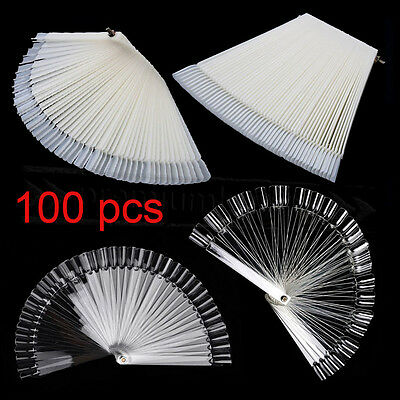 50/100 PCS False Nail Art Display Fan Wheel Polish Practice Color Pop Tip Sticks