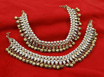 Goldplated Bead Ankle Bracelet Indian Wedding Bollywood Anklet Barefoot Jewelry