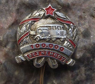 Antique Czechoslovakia Safe Driver Award Bus or Truck Driver Accident Pin Badge