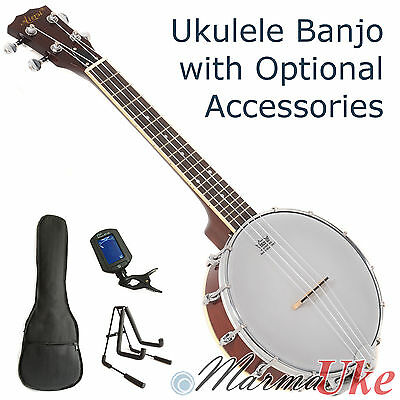 Concert & Tenor Ukulele Banjo Banjolele by Aiersi with Optional Accessories