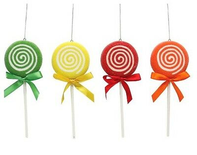 Lollipop Christmas Tree Ornaments Candy Suckers/ Lollipops Multicolor Lot Of 4.