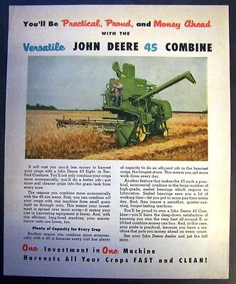 John Deere 30, 45 and 55 Combine Sales Brochure - Magazine Pull Out - 1956