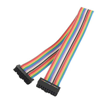 2.54mm Pitch 16Pin Female to Female IDC Connector Rainbow Ribbon Flat Cable MJ