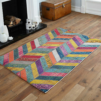 Small Large X Large Rugs - Yellow Red Orange Grey Blue Wave Multi-Colour Rugs