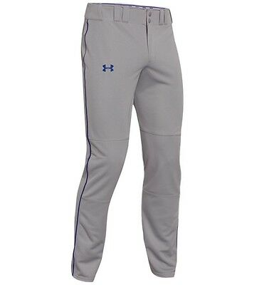 Under Armour UA Clean Up Open Relaxed Mens Baseball Pants Gray Royal Piped