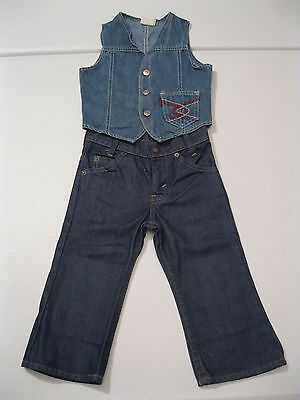 VTG 70s Levi Strauss Jeans and Denim Vest Toddler size 2-4 - Very Nice