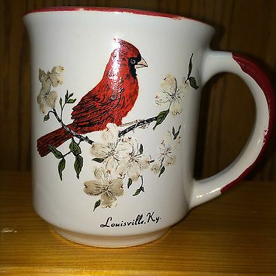 Cup Mug White Ceramic Red Trim From Louisville Kentucky Usa Early 1980's