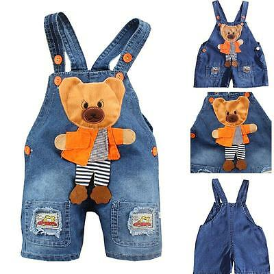 New Baby Girls Boys Bear Denim Jeans Bib Pants Rompers Overalls Straps Clothes