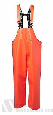 Viking Rubber Premium Bib and Brace Trousers Fishing Farming Waterproof Orange