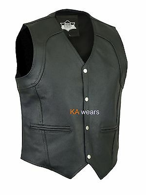 Biker Leather Waistcoat Motorcycle Vest Real Cowhide Black Side Pockets Style