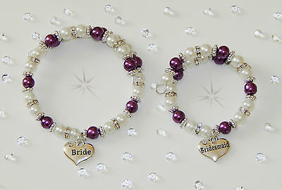 Wedding Bracelets Various Colours &  Charms -Adult Or Child Sizes Gift/ Keepsake