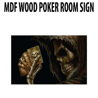 Poker Room art decor Wood Poster Signs : Ace and Eight Skeleton