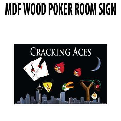 Poker Room art decor Wood Poster Signs : Cracking Aces
