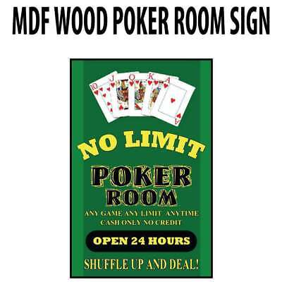 Poker Room art decor Wood Poster Signs : No Limit Poker Room : Open 24hrs