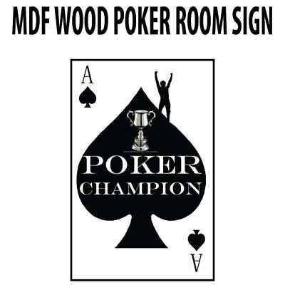 Poker Room art decor Wood Poster Signs : Poker Champion