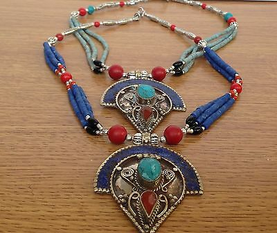 Tibetan ethnic nepalese turquoise and coral stone necklace from Nepal