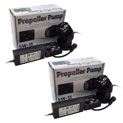 2 Packs Jebao RW15 PP-15 Reef Wave Maker with Controller Powerhead Pump 110v US