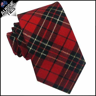 Red, Black & Gold Tartan Mens 8cm Tie Cotton