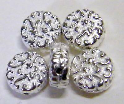 50pcs 7x4mm Metal Alloy Coin Spacer Beads - Bright Silver