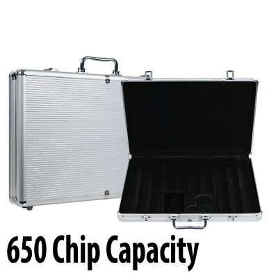 650 capacity : Aluminum Casino Poker Chip Case with grooved Wood Interior