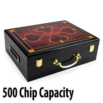 500 capacity : Hi-Gloss Wooden Poker Casino Chip Case