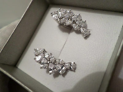 Stunning  Sterling Silver Sparkling Cubic Zirconia Earrings  ~ See Photo's