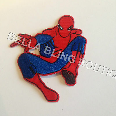1 Embroidered Boys Spiderman Iron On Sew On Patch Clothes Craft