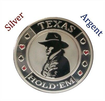 Poker Protector Card Guard Cover in Capsule :  Texas Holdem Cowboy Silver