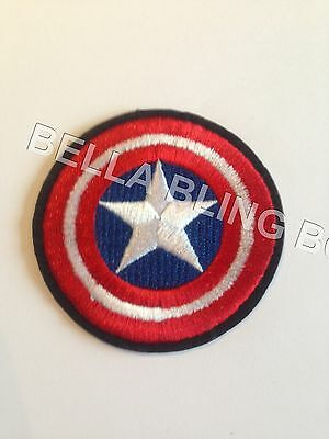 1 Embroidered Boys Circle Captain America Iron On Sew On Patch Clothes Craft
