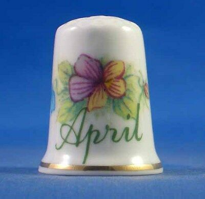 Fine Porcelain China Thimble - Flower Of The Month -- April -- Free Gift Box