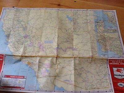 vintage mobil oil map california nevada arizona utah socony vacuum 1940s