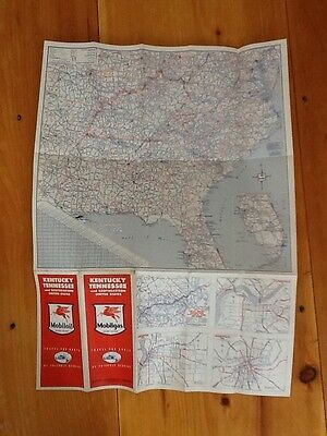 vintage mobil oil map socony vacuum 1940s United States Kentucky Tennessee