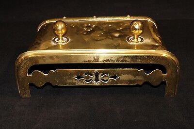 19th Century English Solid Brass Fireplace Fender with the Trivet Top