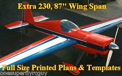 """Extra 230, 87"""" WS Giant Scale RC Airplane Full Size PRINTED Plans & Templates"""