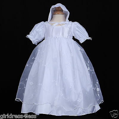 White Infant Baby Girl Baptism Christening Gown Dress + Bonnet 6M 12M 18M 24M