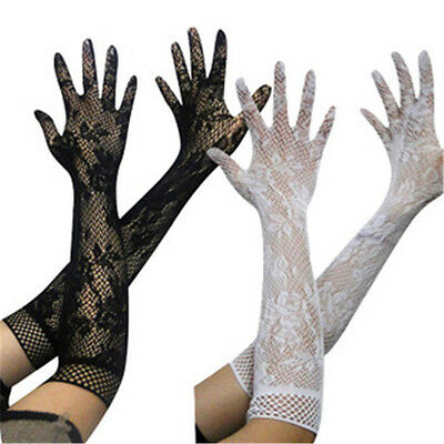Womens Stretch Lace Opear/Long Length Gloves Black White Red 3 Colors Fashion CN