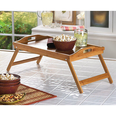 Folding Bamboo Wood Serving Tray Breakfast In Bed Tv Laptop Desk New