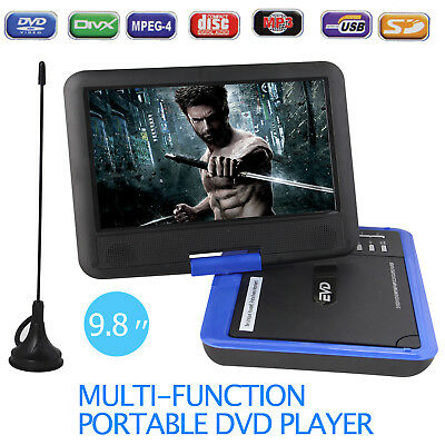 "9.8"" Portable DVD Player Rechargeable Swivel Screen In Car Charger,Game SD Blue"