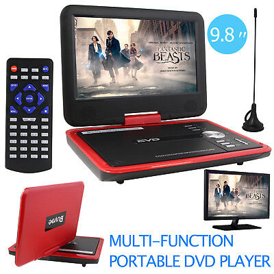 """9.8"""" Portable DVD Player Rechargeable Swivel Screen In Car Charger,Game SD USB"""