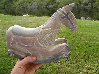 Vintage Wood sculpture  Hand Carved  Painted Rocking Horse toy Animal Home decor